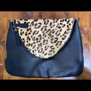 Street Level pony hair leopard zipper clutch